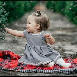 Tahari Baby Gray Pleated Dress